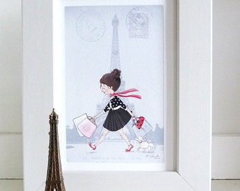 Girl in Paris Wall Art - Little Girl Room Decor - Girl Shopping in Paris