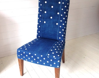 Upholstered Living Room Chair - Button Back Slipper Chair - Indigo Vintage Hungarian Linen with Polkadots
