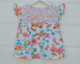 Girls blouse - floral aqua and apricot top, summer girls top, sizes 2,3,4,5 years