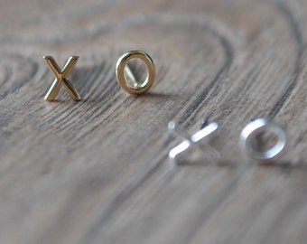 Gold XO Stud Earrings - Gold plated over Sterling Silver