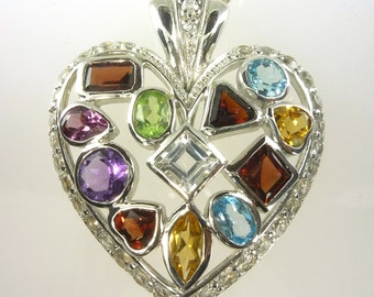 Large Multicolor Heart Pendant With All Natural Stones .925 SS Sterling Silver