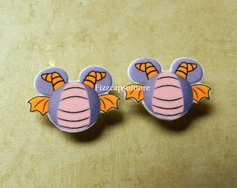 Figment Inspired Mouse Head Ears Nickel Free Post Earrings