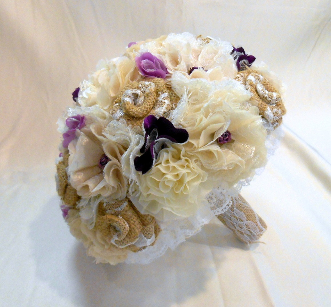 Bridal Bouquet Materials : Wedding bouquet bridal fabric burlap