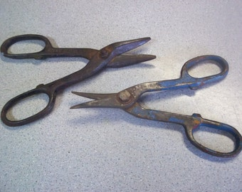 2 Tin Snips/Cutters, Stanley Cutter, Drop Forged USA, Vintage, Old Tools, Rusty Tools, Tin Snips, Collectible, Tool Collection, Usable Tools