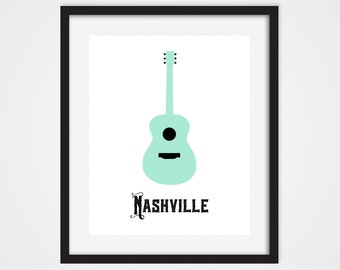 Guitar Art Print, Nashville Art, Music City, Teal Mint Guitar 5x7, 8X10, 11x14 Nashville Wall Decor, Tennessee Art, Country Music