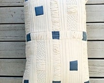 Quilted Pillow, Patchwork Pillow, Nursery Room Decor, Soft Furnishings, Kids Cushion, Kids Pillow, Blue Silk Calico , Hand Embroidered