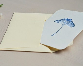 Greeting card, little vegetal engraving printed in gold and blue, unic item