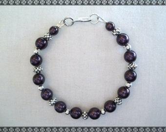 purple bracelet, dark purple bracelet, crystal bracelet, eggplant