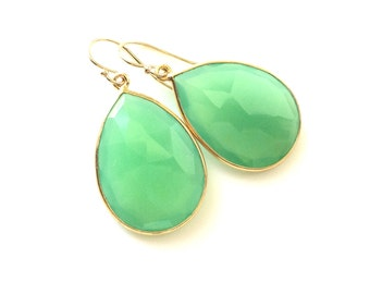 Green Chalcedony Gold Earrings, Chrysoprase Mint Chalcedony Earring, Gold Filled Wires