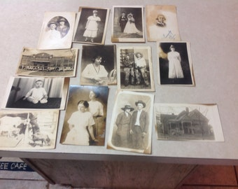 14 Vintage photograph postcards Early 1900's people animals places