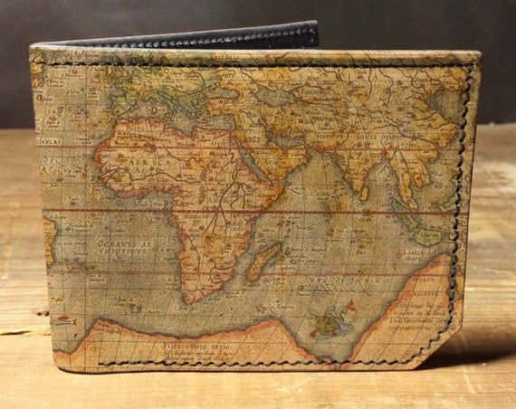 Map print leather wallet