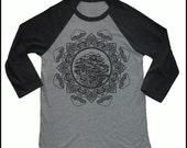 Unisex Mushroom Mandala 3/4 Length Sleeve Vintage Style Baseball T-shirt Sacred Geometry