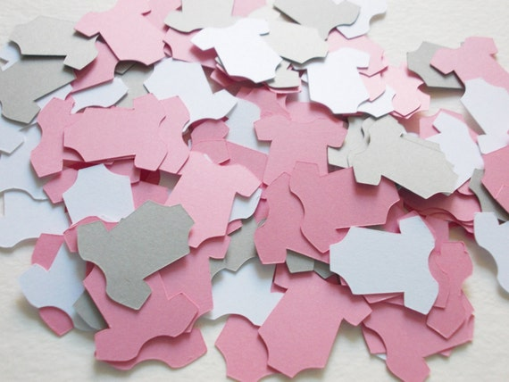 Items similar to baby girl onesie confetti onesie cutouts for Baby confetti decoration