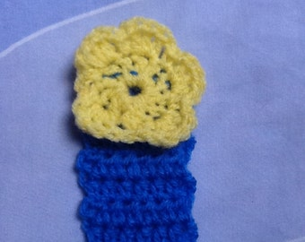 Flower Bookmark, Flower Page Marker, Yellow Bookmark, Blue Bookmark, Yellow and Blue, Page Marker, Yarn Bookmark, Wool Bookmark