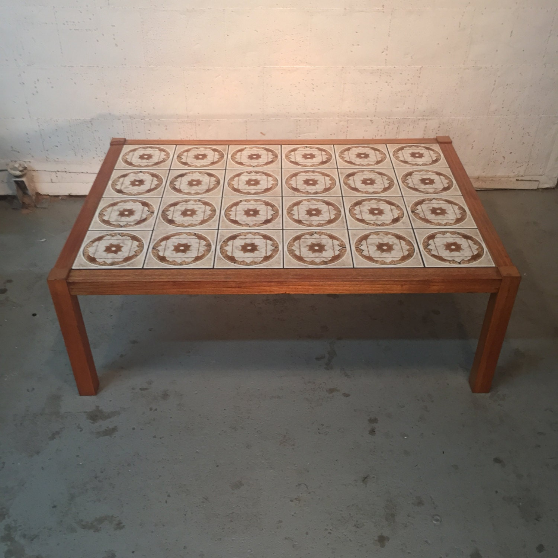 Vintage Mid Century Danish Modern Ceramic Top Tile Coffee