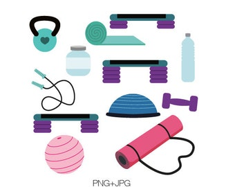 Fitness Equipment Clip Art, graphic design elements-Instant Download