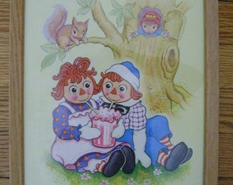70s Vintage Raggedy Ann & Andy Print Wood Framed Picture Childs Room Home Decor Kids Children Nursery Boys Girls Bedroom Art Wall Hanging