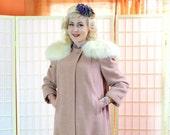 40's Dusty Rose Pink Wool Coat . Removable Llama Fur Collar . Herringbone Weave 12 panel . Fall Winter Fab Overcoat . Meier Frank label .