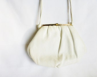 White and Gold Leather Handbag Clutch Purse