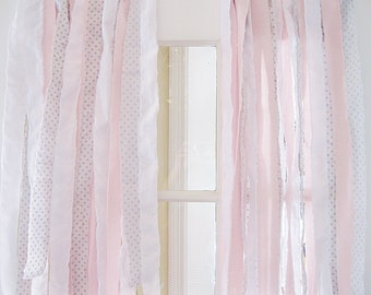 Ribbon Bohemian Curtain | Shabby Chic Curtains | Ribbon Curtain | Handmade Gypsy Curtains | Pink Gray White | Set of 2 Panels