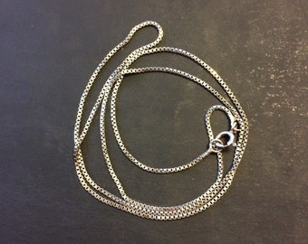 """20"""", 1.6mm, Vintage sterling silver Italy 925 silver box chain"""