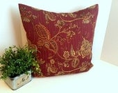 Dark Red/ Gold/ High Quality Embroidered Fabric Pillow Cover