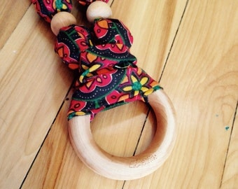 100% natural teething and breaffeeding necklace - green arabesque