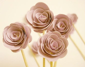 Set of 24Pcs - 3D 'ROSE ' Lavender Party Picks, Cupcake Toppers, Toothpicks, Food Picks