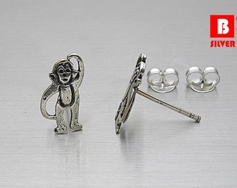 925 Sterling Silver Oxidized Earrings, Monkey Earrings, Stud Earrings (Code : ED54)