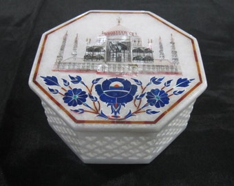 Taj Mahal Marble Inlay Jewelry Box with Filigree Art Work Handmade Pietra Dura