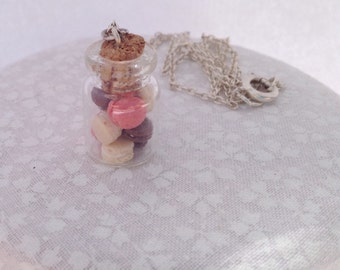 Miniature macaroon jar necklace; vanilla, chocolate, and strawberry macaroons.