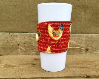 Country rooster Coffee sleeve / coffee cozy / reusable coffee sleeve / mug sleeve / coffee cup cozy