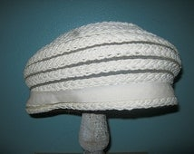 Ladies Woven Beret Style Vintage Hat, Ladies Formal Vintage Hat, 1960's Hat, Braided Stripes,