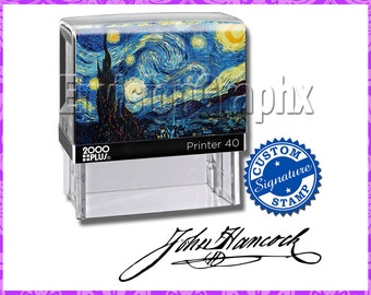 Custom Personalized Signature Self Inking Rubber Stamp Starry Nights Theme