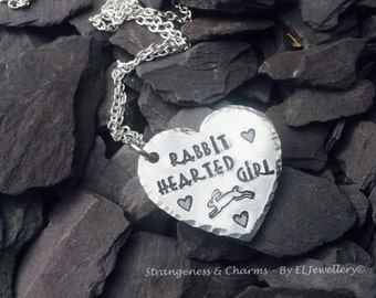 Hand stamped 'Rabbit Hearted Girl' Necklace, Handmade, Stamped,Jewellery, Metal, Jewlery, Rabbit, Heart, Lyric, Aluminium, Heart.