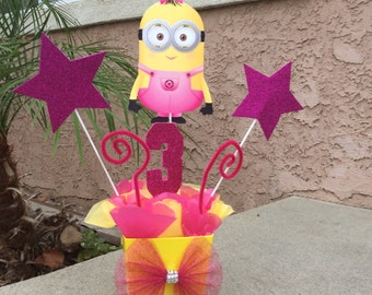 Girl Minion Birthday Party Centerpiece