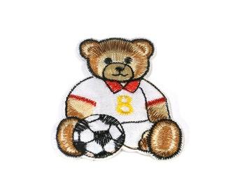 """Iron-on """"soccer bear"""", applique, application (P54)"""