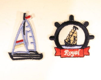"""2pc Iron-on """"sail boat"""", applique, application (P66)"""