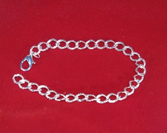 5pc silver plated 20cm lobster clasp chain bracelets (JC70)