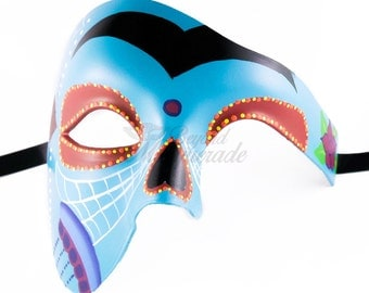 Day of the Dead Phantom Mask, Dia de los Muertos Mask, Masquerade Mask for Festivals, Weddings and Costumes