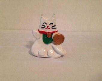 Cute Mini Lucky Cat Polymer Clay Cat Figurine