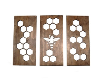 Honeycomb Wall Art Carved Wood Plaques Modern Home Decor