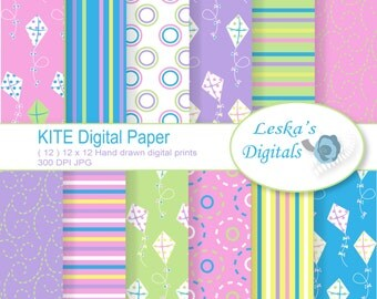 "Digital Paper: ""Spring Kite Paper"" for scrapbooking and wallpaper graphics perfect for invites and background design instant download"