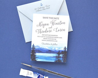 Custom Save the Dates, Mountain Save The Date Cards, Lake Wedding Save the Dates, Rustic Save the Dates