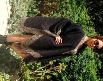 Knit Shawl, Black,knit wrap,Leopard print Trim, Fringed wrap