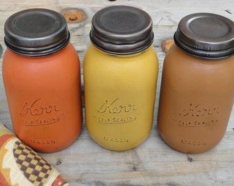 Fall Mason Jars, Rustic Painted Mason Jars, Halloween, Fall Decor, Mason Jar Decor, Thanksgiving Centerpiece, Storage Jar, Orange Gold brown