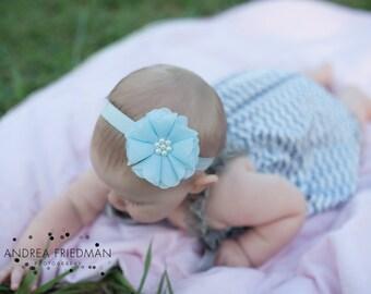 baby blue Headband, Blue Headband, blue Flower Headband, baby blue flower girl headband, blue birthday headband, baby blue clip