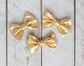 "Set of 3 Shiny Metallic Gold Bows - 3"" inch bows - Shiny Headband Bows - Metallic Headband Bows - For DIY Headbands & Accessories"