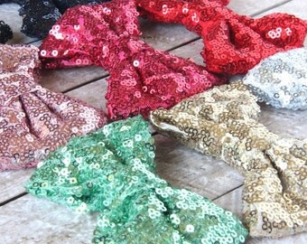 """Sequin Bow - 4"""" Sparkly Sequin Bow - YOU PICK color - Sequin Bow for Headbands - Large Sequin Bow - Bling Bow - Headband Bow"""