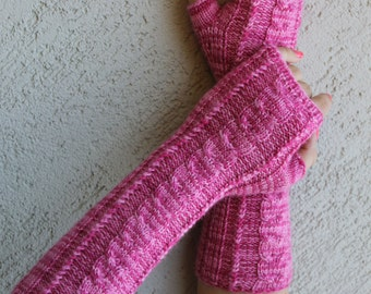 Fingerless Gloves Bright Pink Arm Warmers Wrist Warmers Bohemian Pink